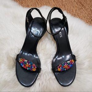 Mixit Belinda Black Heels Shoes Rhinestone
